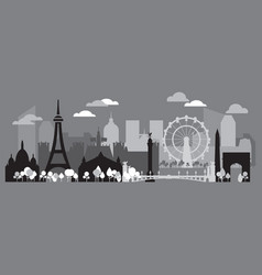 paris skyline silhouette 2 vector image