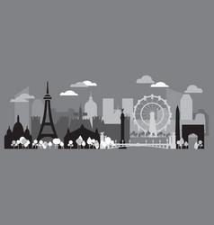Paris skyline silhouette 2 vector