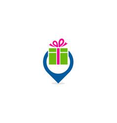 Pin gift logo icon design vector
