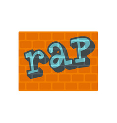 Rap on bricks wall icon flat style vector
