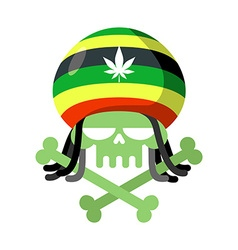 Rasta skull with dreadlocks and Rasta Cap Green vector image