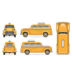 realistic old taxi car vector image