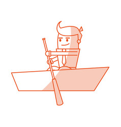 Red silhouette image cartoon business man in boat vector