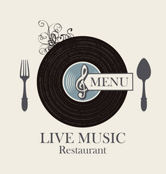 Restaurant menu with vinyl record and cutlery vector