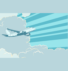 retro airplane flying in clouds air travel vector image