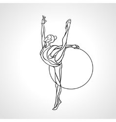 Rhythmic Gymnastics with Hoop Silhouette on white vector image