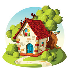 rustic stone house summer landscape vector image