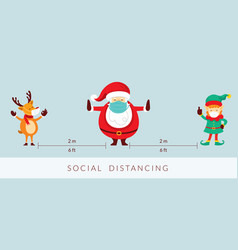 santa claus and friends social distancing concept vector image