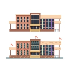 School building on white background vector