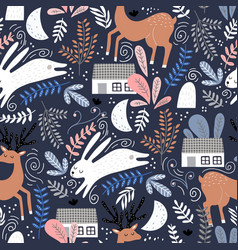 seamless woodland pattern with deer bunny and vector image