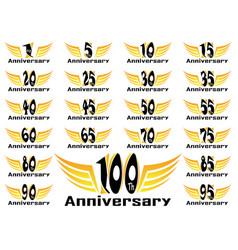 Set anniversary badges celebrating banners vector