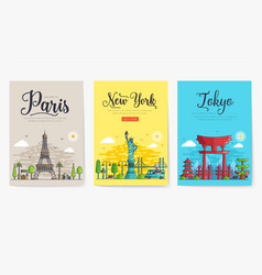 set different cities for travel destinations vector image