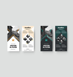set dl flyers template with design and crosses vector image