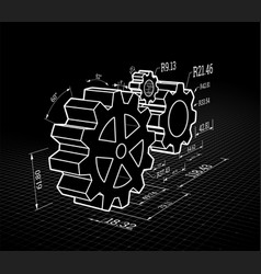 set gears on a black background vector image
