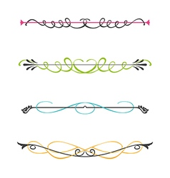 set two color calligraphic design elements vector image