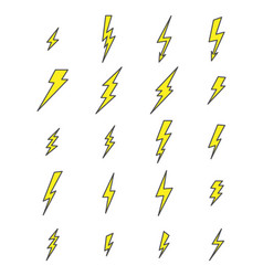 set up flash lightning electric thunder icons vector image