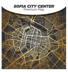 shiny gold gradient map sofia city center on vector image