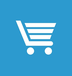 shopping cart icon white on the blue background vector image
