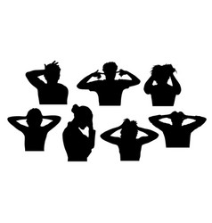 Silhouettes a stress person vector