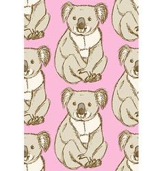 Sketch cute koala in vintage style vector image