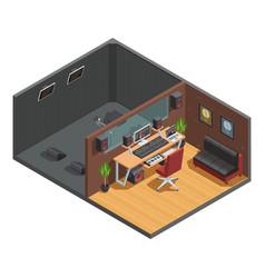 Soundbox interior isometric composition vector