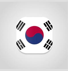 South korea flag design round button vector