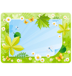 Spring banner border cute forest scene green vector