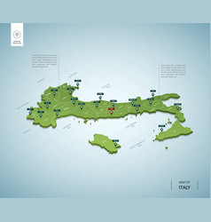 stylized map italy isometric 3d green map vector image