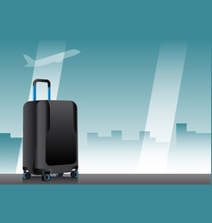Suitcase in airport terminal vector