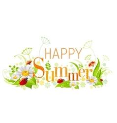 Summer floral background with beautiful swirls vector