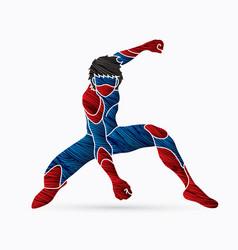 Superhero landing action cartoon superhero vector