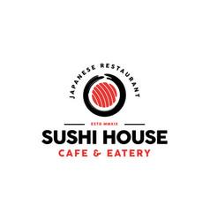 sushi restaurant logo design vector image