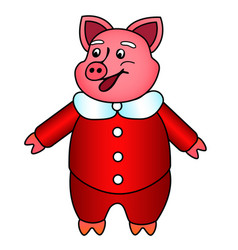 Symbol of the year pink pig in new years red fur vector