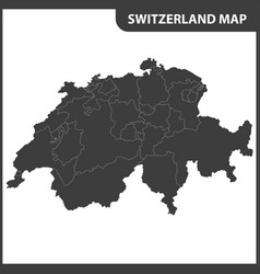 The detailed map of the switzerland with regions vector