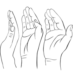 Three hands with open palms vector