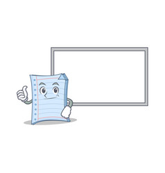 thumbs up with board notebook character cartoon vector image
