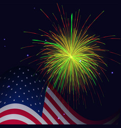 united states flag and golden red green fireworks vector image