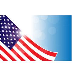 usa flag corner on blue sky background banner vector image