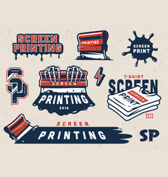 Vintage screen printing colorful elements set vector
