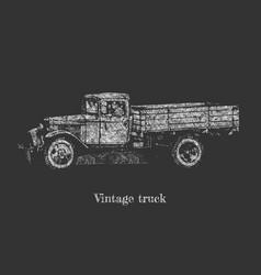 vintage truck on blackboard vector image