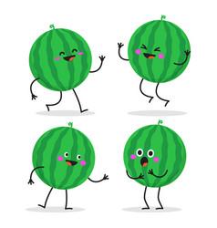 watermelon cute fruit character set vector image