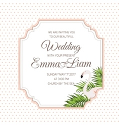 Wedding invitation card flamingo tropical leaves vector