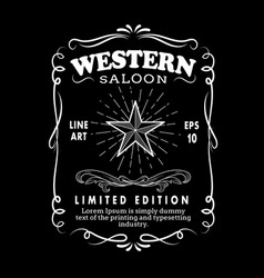 western hand drawn frame border label retro vector image