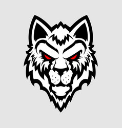 wolf head logo great for sports logotypes and vector image