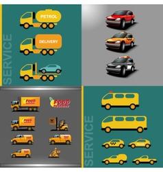 Digital orange and red auto car icon set vector image vector image