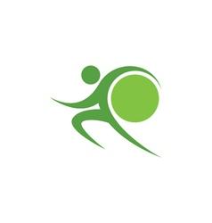 Green sportman and world vector image vector image