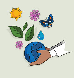 hand holding globe ecology mother earth concept of vector image
