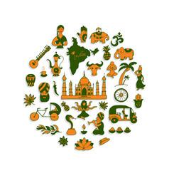 indian icons circle set vector image vector image