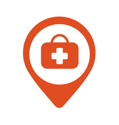 map pin icon hospital vector image vector image