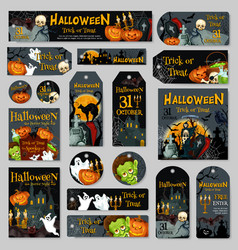 halloween pumpkin and ghost label or tag design vector image